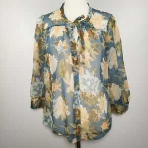 Joie Hartford Silk Sheer Button Down Blouse Medium